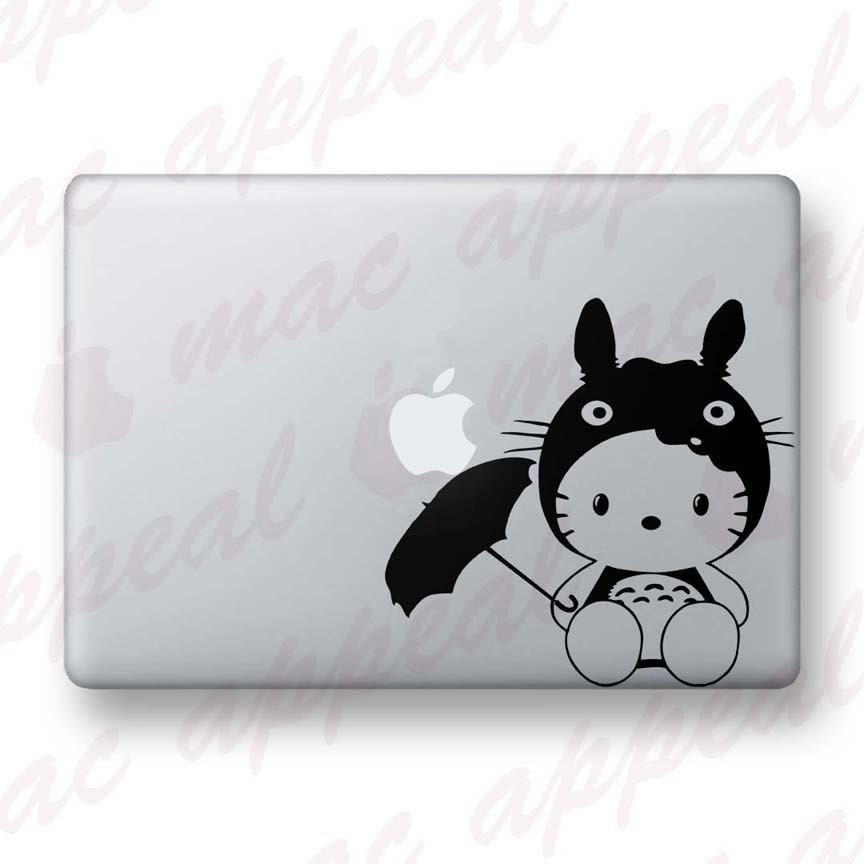 Hello Kitty in Totoro Costume - Vinyl Macbook / Ipad Decal Sticker - Over 30. Hello Kitty dressed as Totoro - Macbook Decal. From macappeal