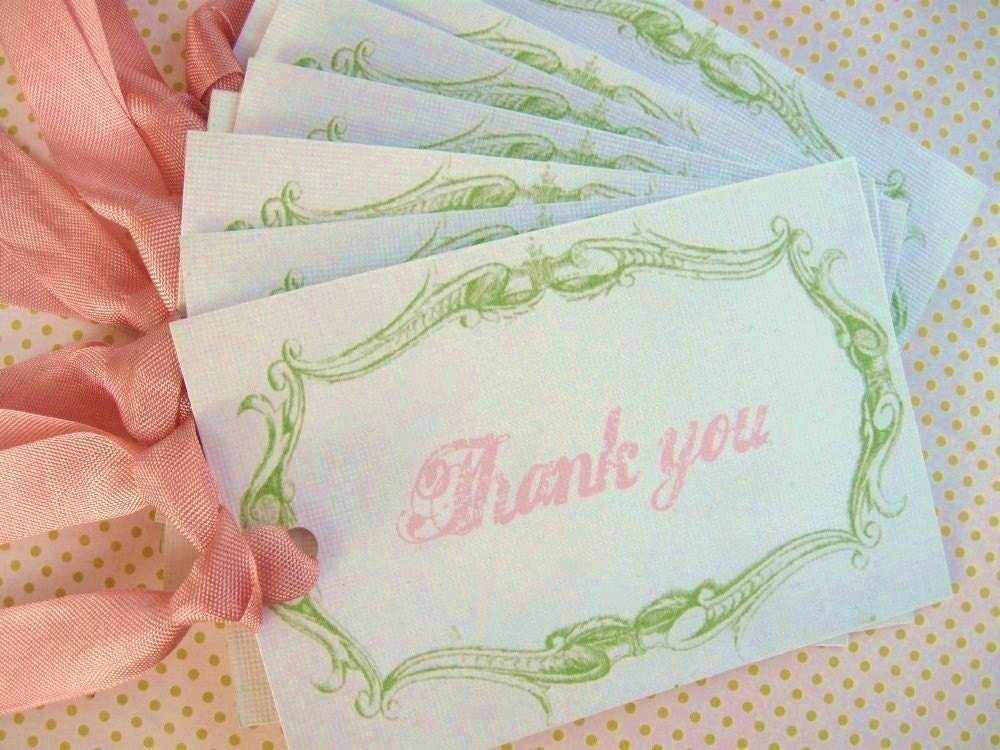 Set of 6..THANK YOU...Hang Tags..Note Card..Gift...Journal...Note.PINK GREEN...Spring.....Birthday..Wedding....Mother's Day..Birthday...Holiday.Shabby French Chic