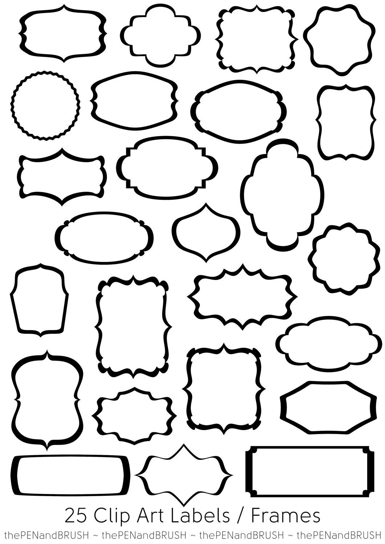 Custom Card Template label outline : 25 Clip Art Label Frames // Transparent Middles by ...