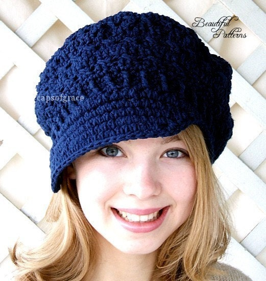 Crochet Patterns Hats For Adults : Crochet Hat Pattern Teens Newsgirl Newsboy by ...