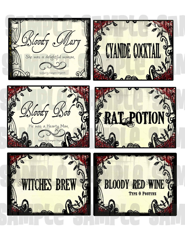 Items similar to Gothic Halloween Elegant Digital Collage Large LaBeLs ...
