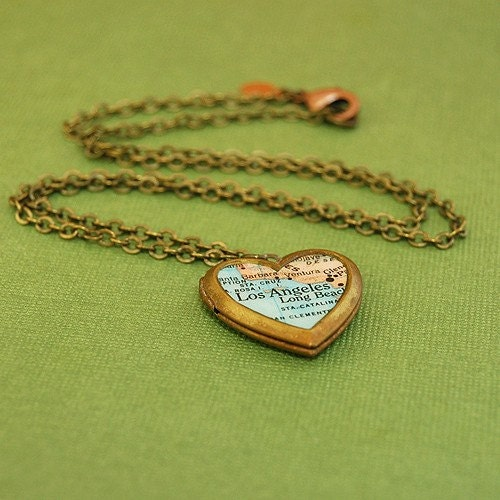 Heart Locket Necklace Map of Los Angeles, Brass Chain - Ready to Ship