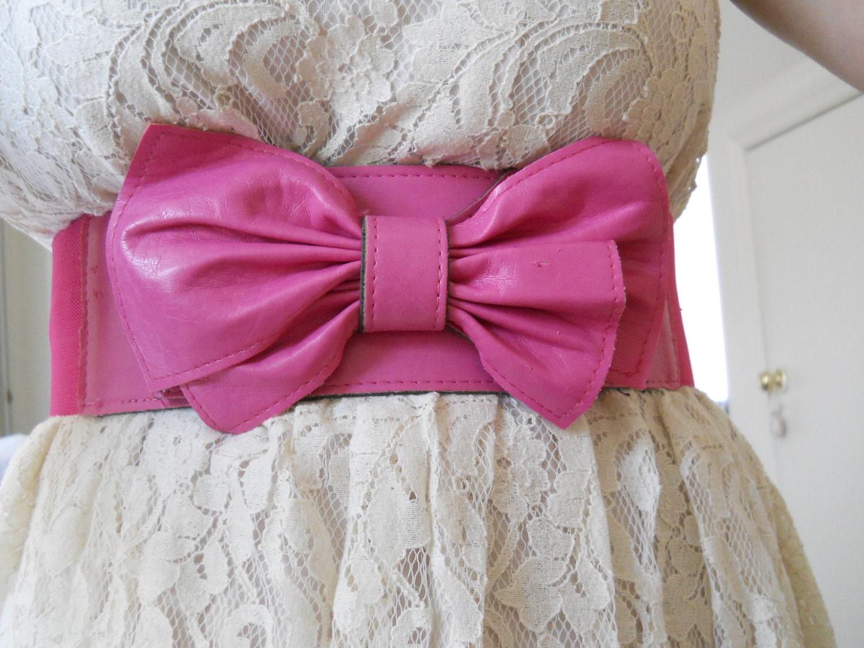 Vintage Pink Bow Belt