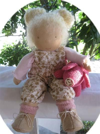 Anika Loves her Piggy A FairyWoolDoll Creation made in the Waldorf tradition Cloth Doll