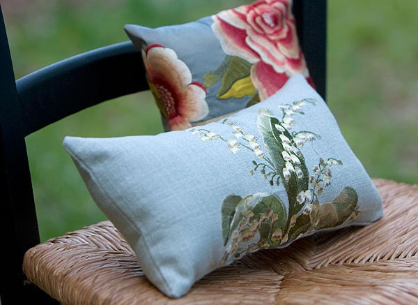 Stunning Embroidered Pillows - Rose and Lilly of the Valley - SusieBDesigns