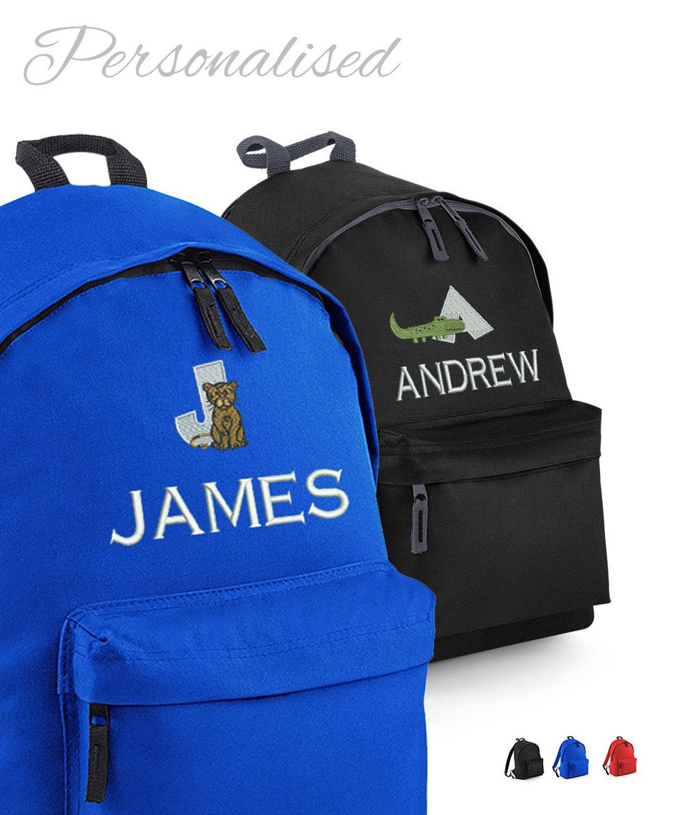 Personalised Childrens Backpack with Animal Alphabet Rucksack  Backpack for School
