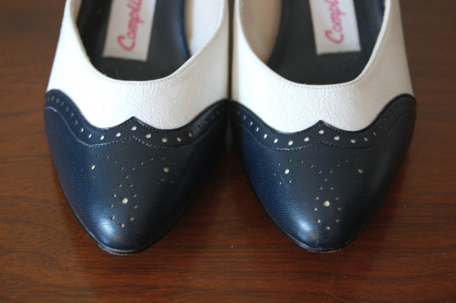 Vintage OXFORD Navy and White Heels Size 6 SALE