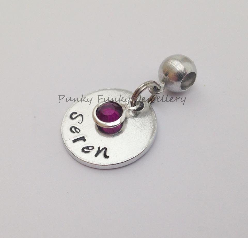 Personalised birthstone European charm  birthstone crystal  charm to fit Pandora bracelet  name charm  birthday gift  new baby gift