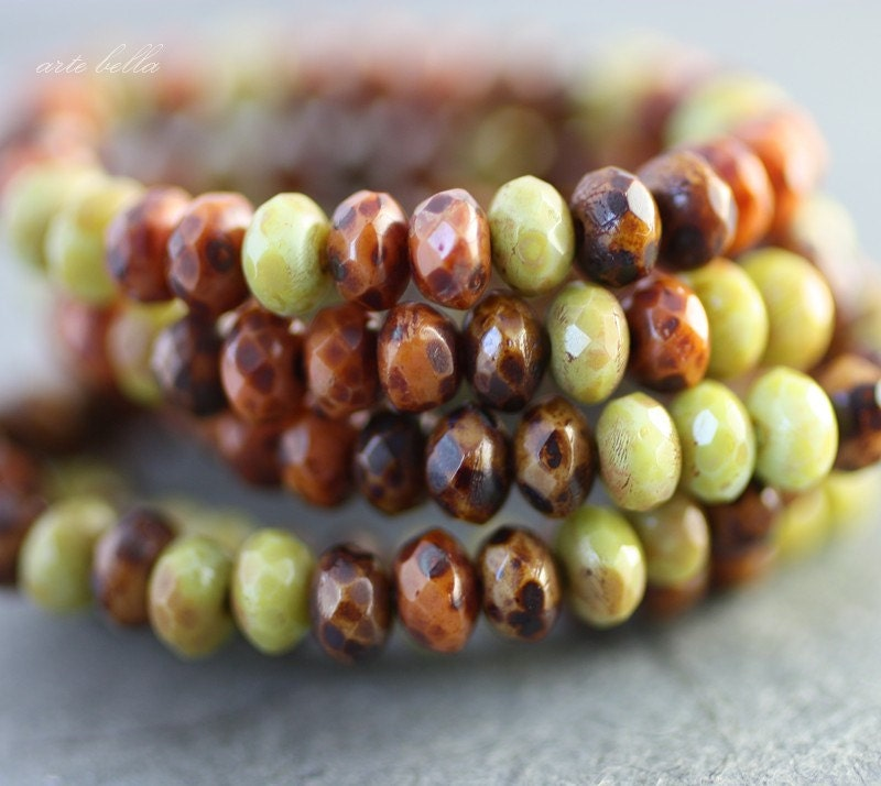 AUTUMN .. Picasso Czech Glass Rondelle Beads (2410) - ArteBellaSurplus