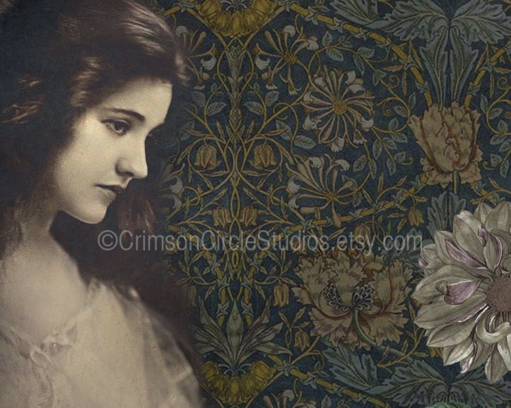 "Mini print 4x5 digital collage ""Dahlia"" vintage inspired portrait, floral, patterns - CrimsonCircleStudios"