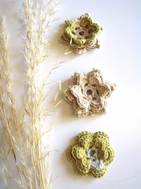 Autumn rustic flowers in cream, beige, gray and olive - set of three vintage flowers