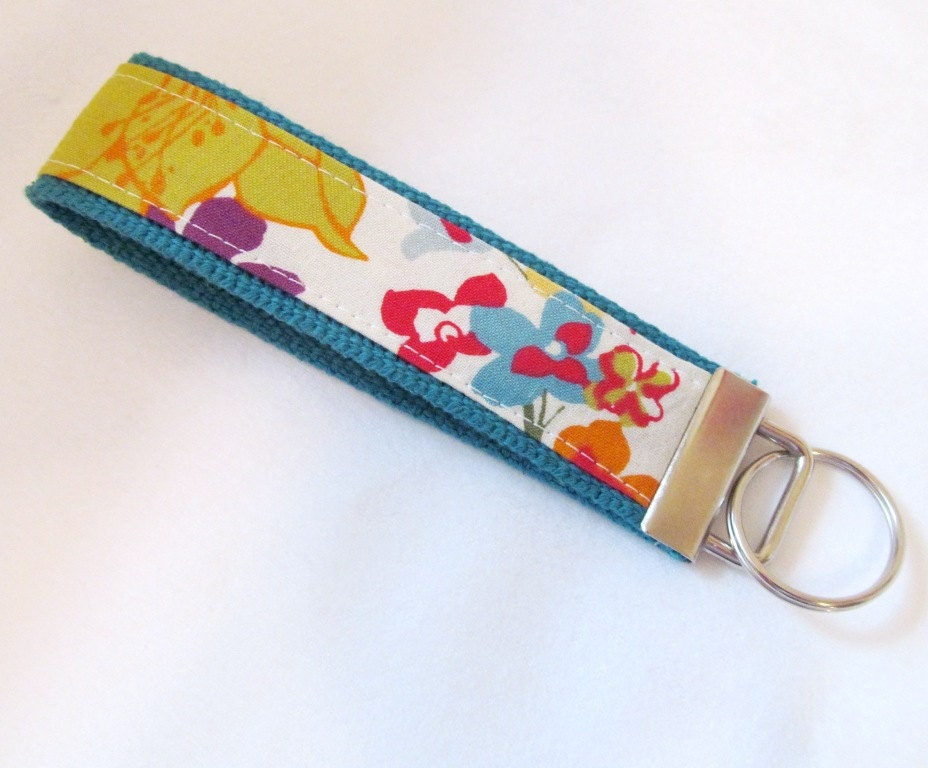 Wristlet Key Fob Key Chain in Vintage Floral - Your choice of dark teal or yellow webbing