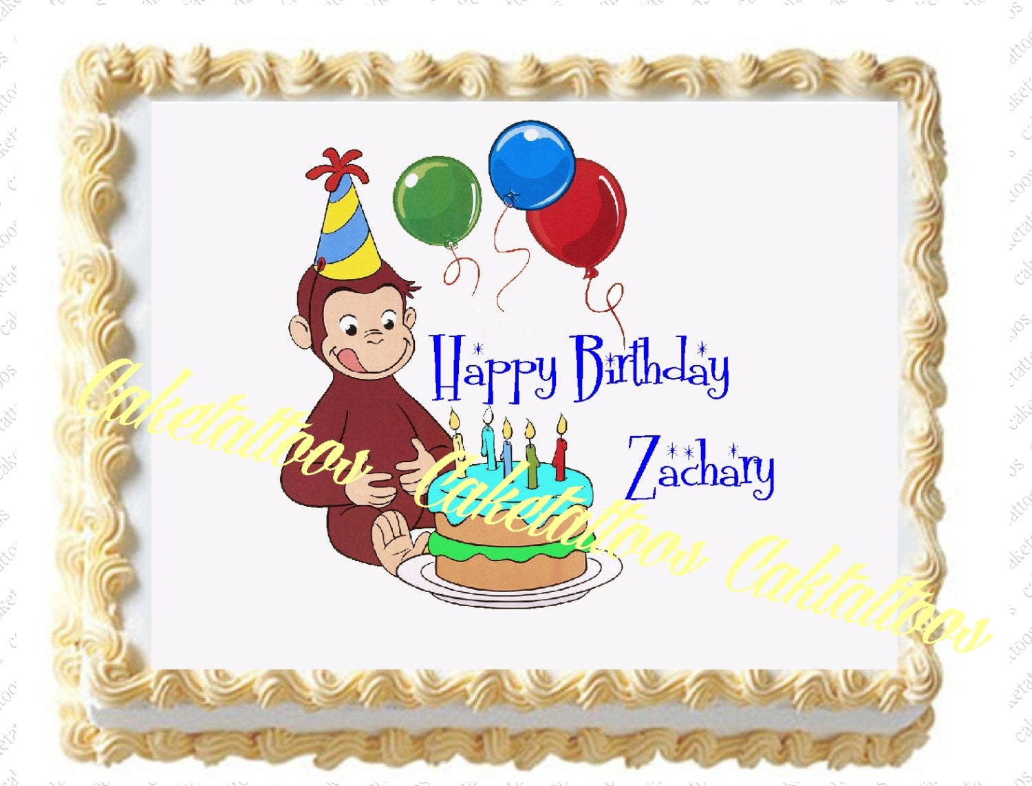 Edible Cake Images Curious George : Caketattoos on Etsy