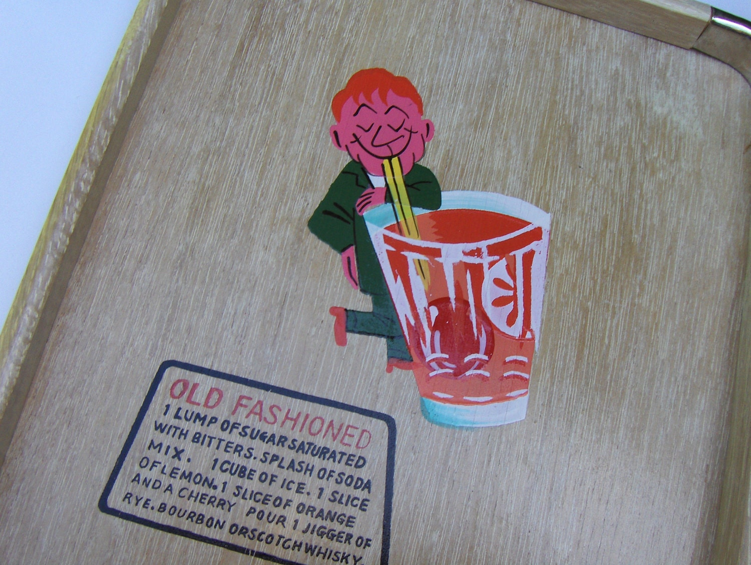 Vintage 60s Nevco Bar Tray w Old Fashioned Drink Recipe