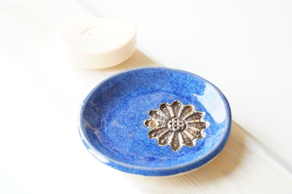 Royal blue ceramic soap dish ceramic bathroom decor by bemika for Bathroom decor royal blue