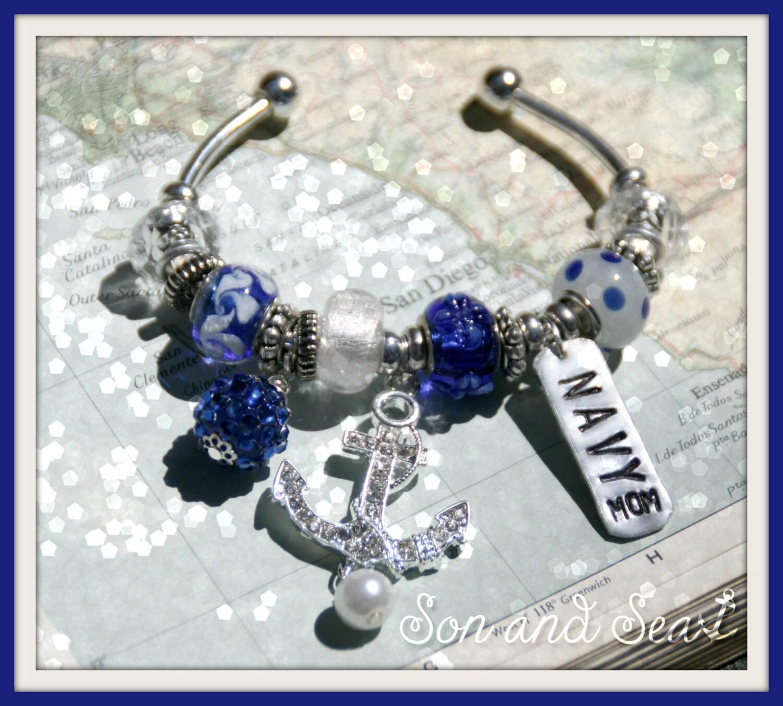 us navy pandora style charm bracelet with by sonandsea
