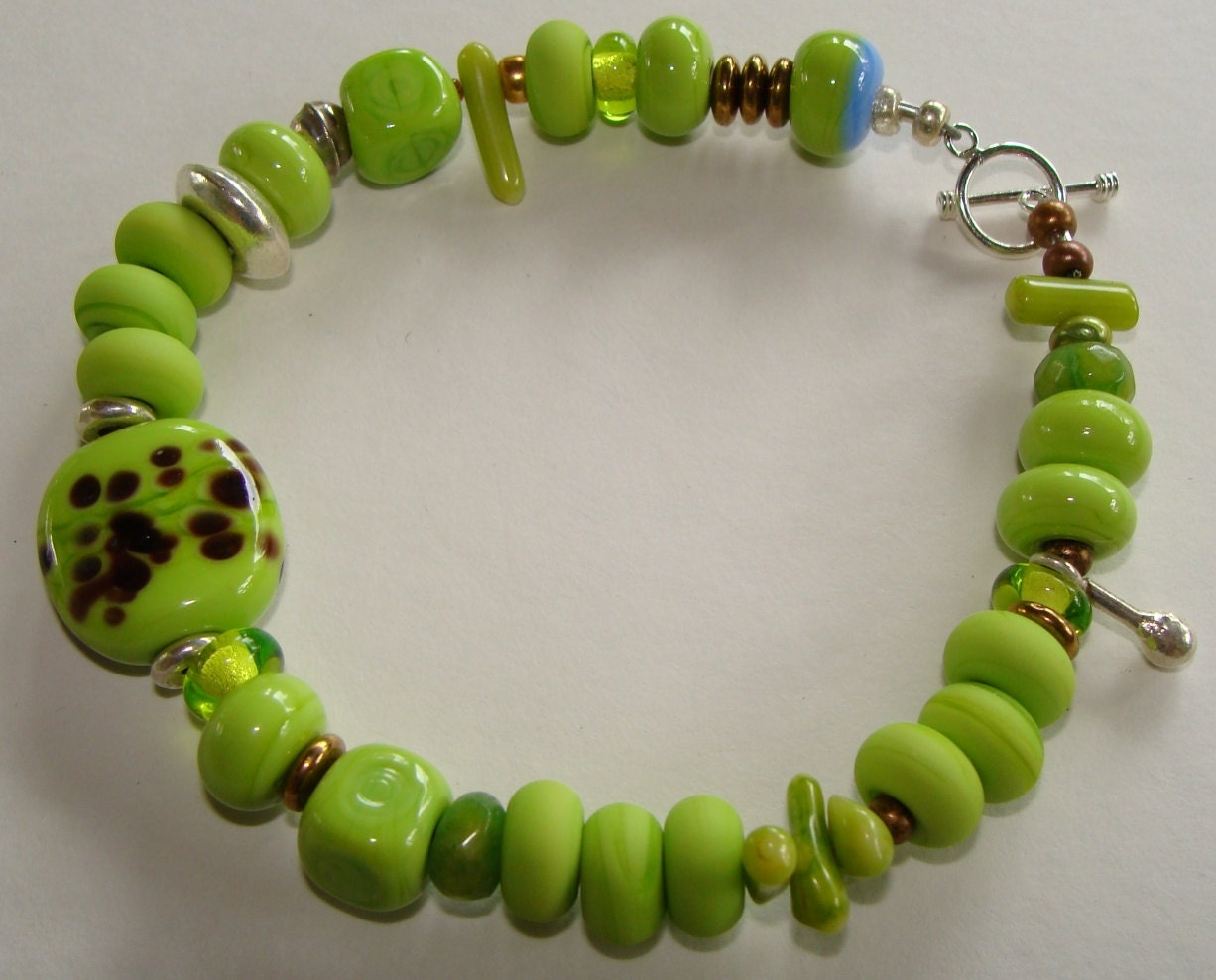 Lime Green Lampwork Glass Beads Treasure Statement Bracelet Handmade with Solid Silver - indigobjects