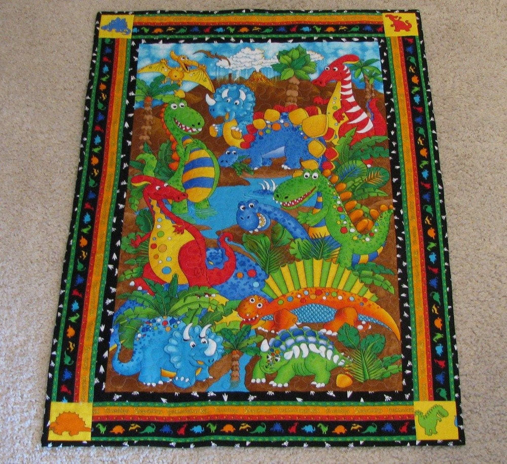 Dinosaur Baby Quilt Or Wall Hanging By Quiltinggranny On Etsy