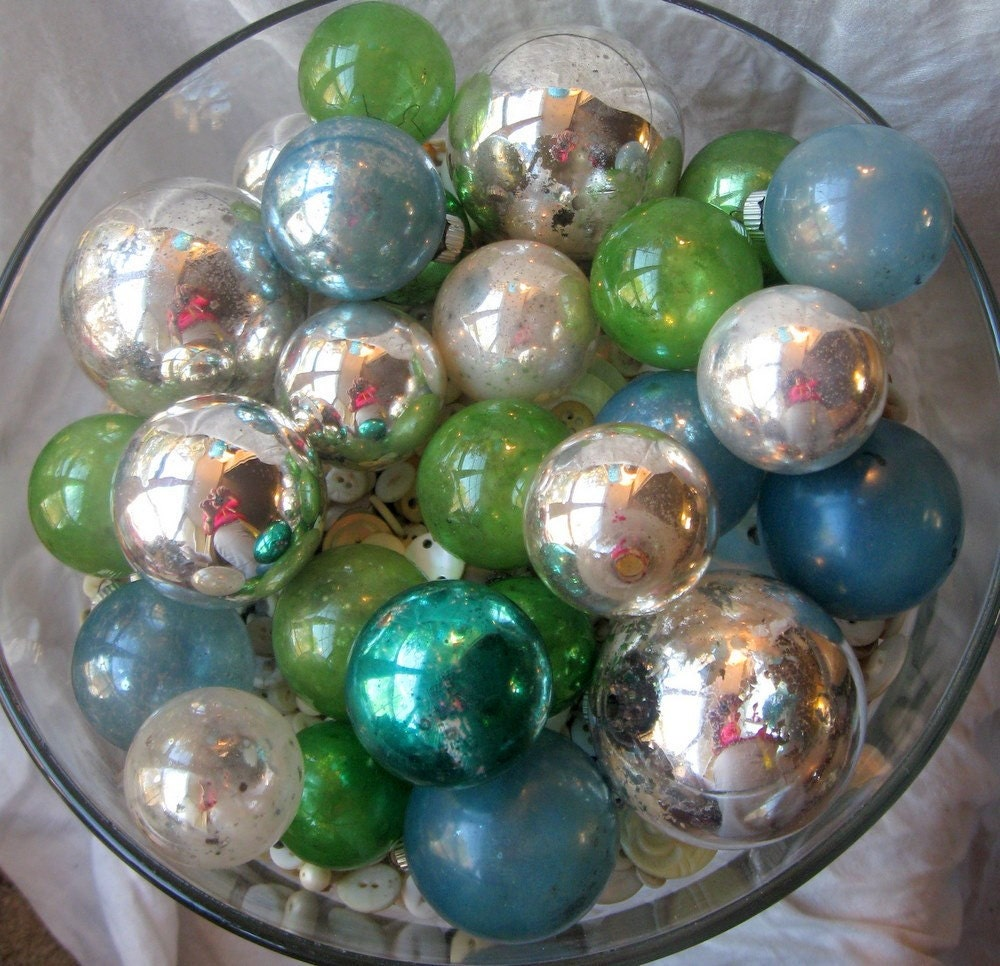 Shabby Vintage Mercury glass ornaments 20 plus blues, greens and silvers