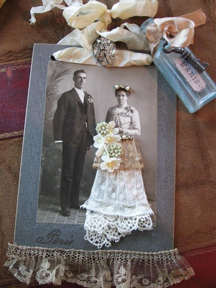 PARIS BRIDE Mixed Media Collage - Fancy Antique Lace Gown and Millinery Bouquet