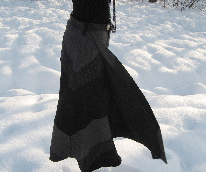 خاکستری و سیاه و سفید راه راه پشم دامن بسته بندی کردن