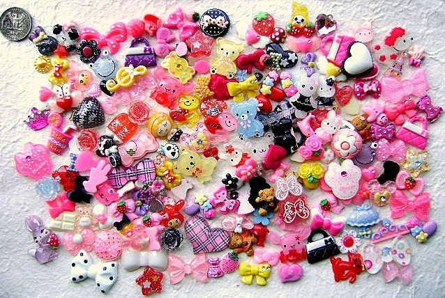 WHOLESALE Cute Japanese 200 Cabochons Charms BIG Set Mix Pack A