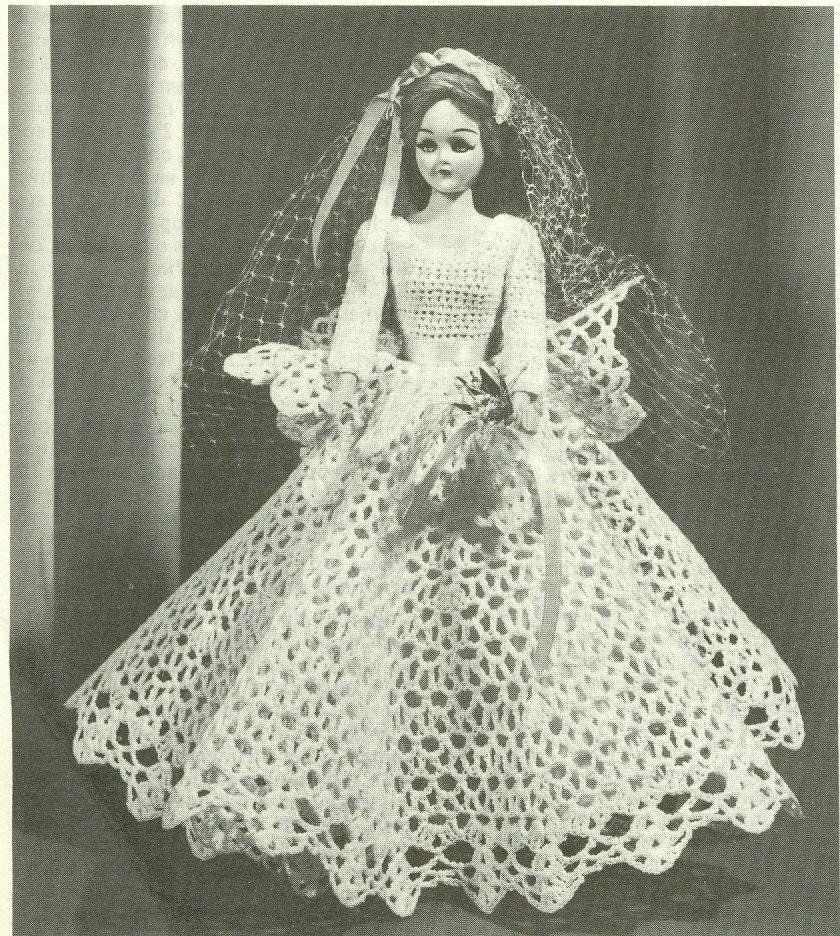 Crochet Pattern Doll Dress : Vintage Bride Doll Wedding Dress Crochet Pattern PDF by ...