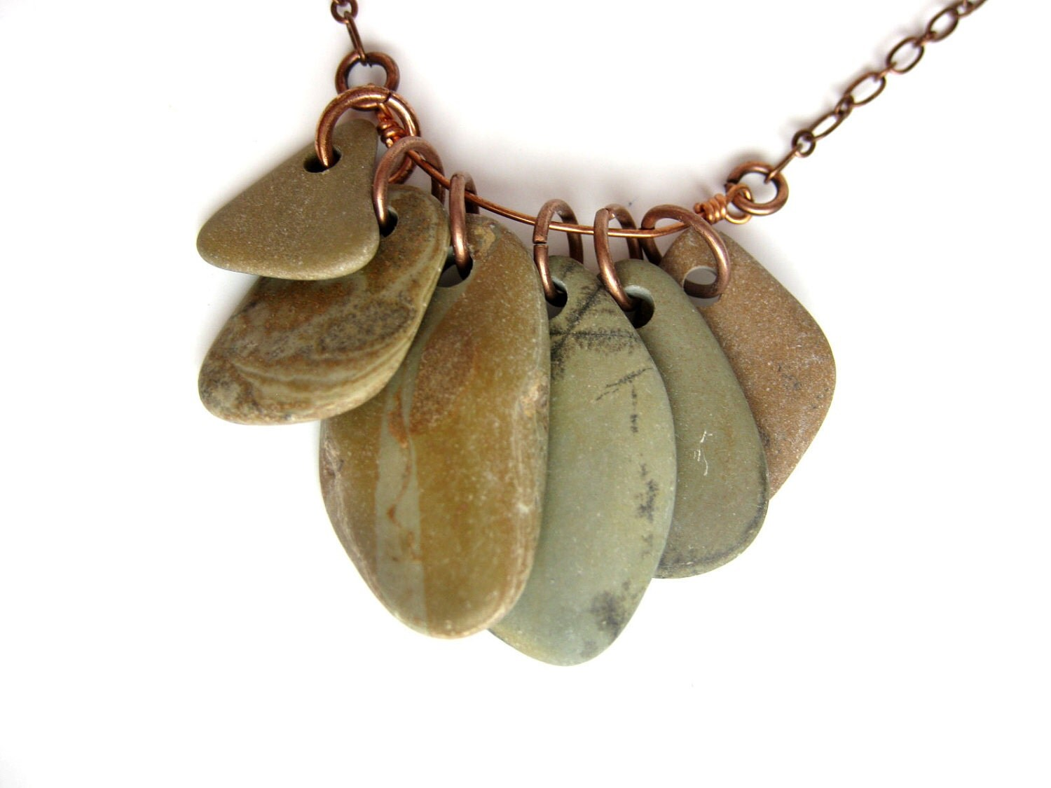 River rock necklace - faux bois - Basswood Rock Collection Necklace - 718 - AuthenticStone