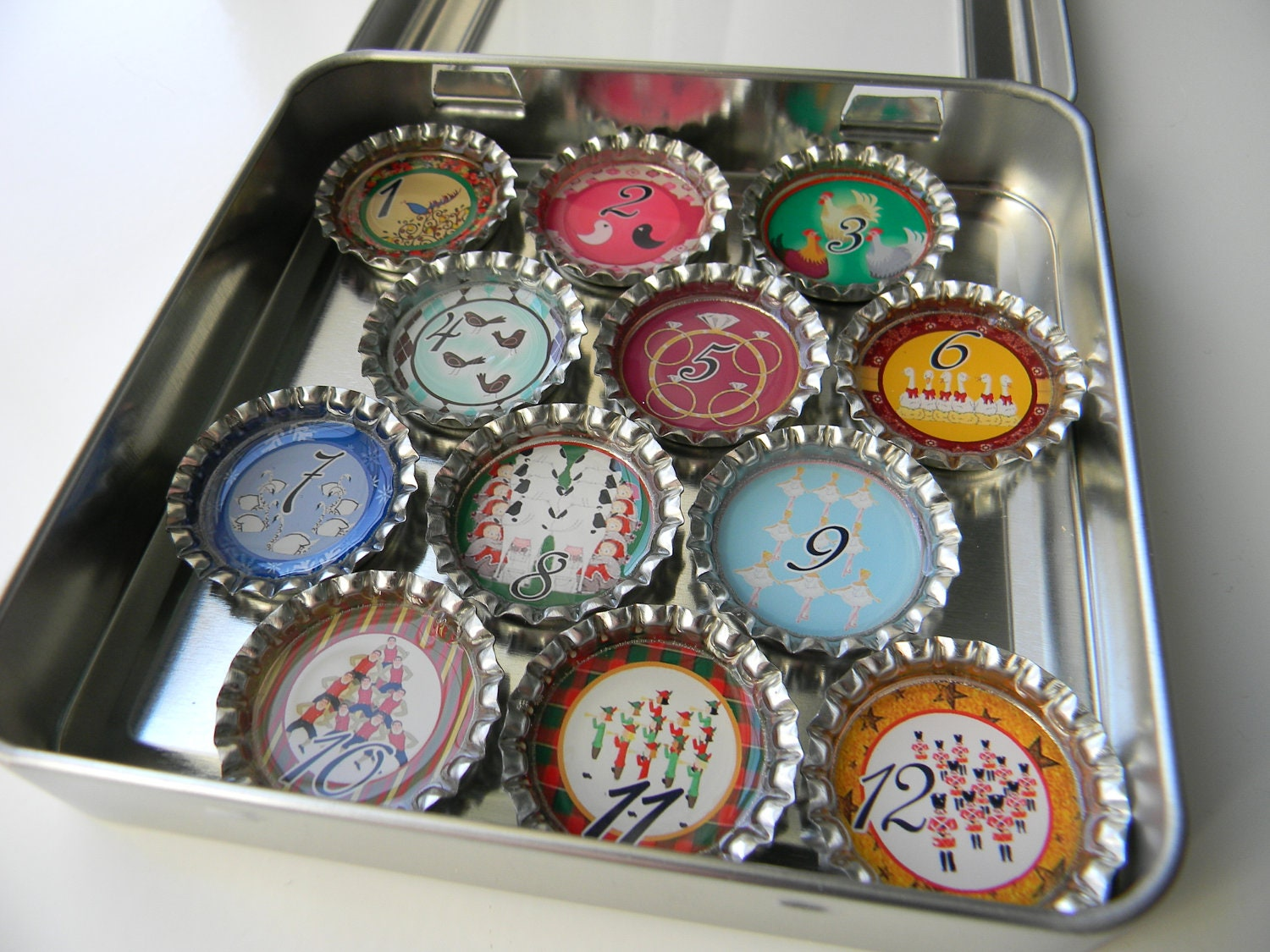 HOLIDAY SPECIAL The 12 Days of Chrstimas Bottle Cap Magnet Set of 12 in a Gift Tin Perfect for an Extra Stocking Stuffer