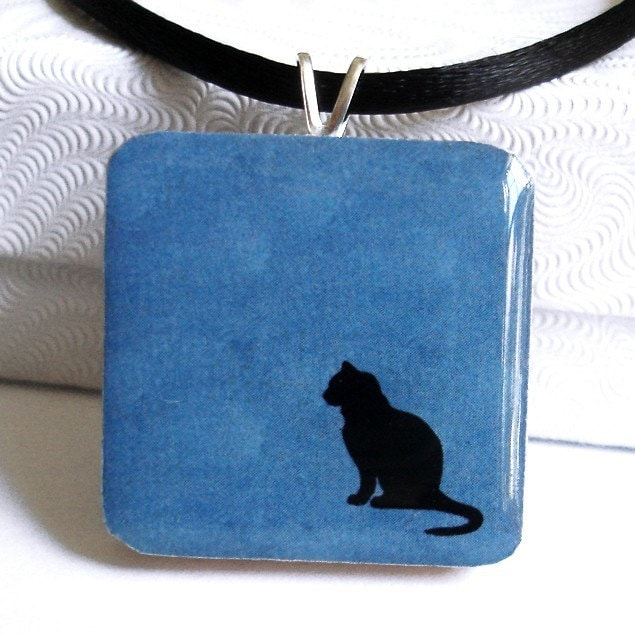 Black Cat on Blue Pendant Necklace :  cat black cat holiday resin