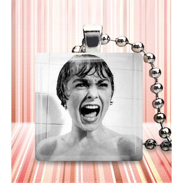 Psycho glass tile pendant necklace