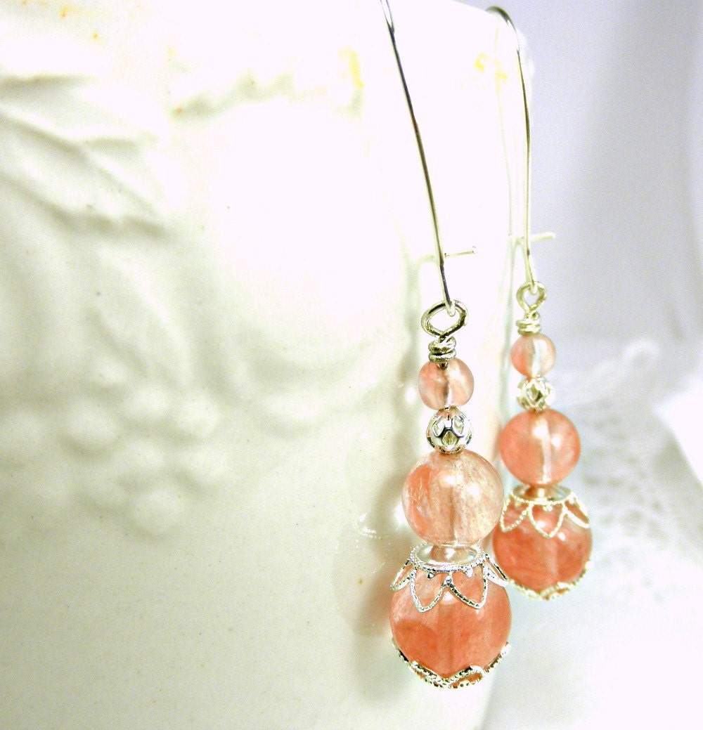 Cherry Quartz Glass with SP Flower End Caps & SP Filigree Bead Earrings - BeadsGalore2