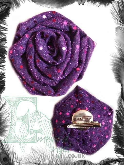 Sequin Rose Hair Flower or  Brooch two accessories in one Burlesque Accessory many colours available