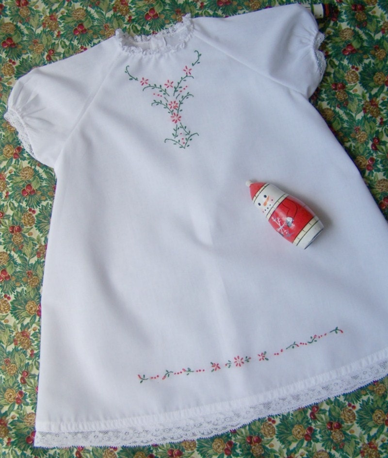 Hand Embroidered Baby Christmas Dress size infant to 6 months