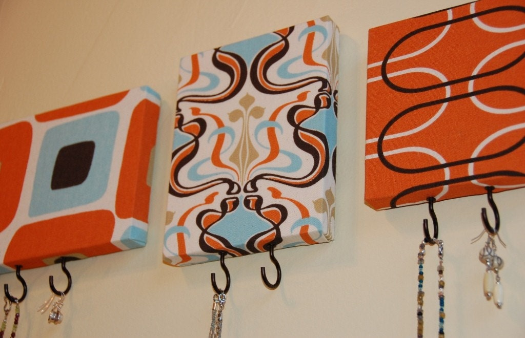 Set of 3 Jewelry / Key / Accessory Hangers in Orange, Brown, Caribbean Blue, Sand and Cream