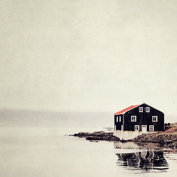 Isolated Black and Red House, Iceland, Landscape Photography, Rustic Cabin, Scandinavian, Minimal Home Decor, Simple - Ordinary Silence - EyePoetryPhotography