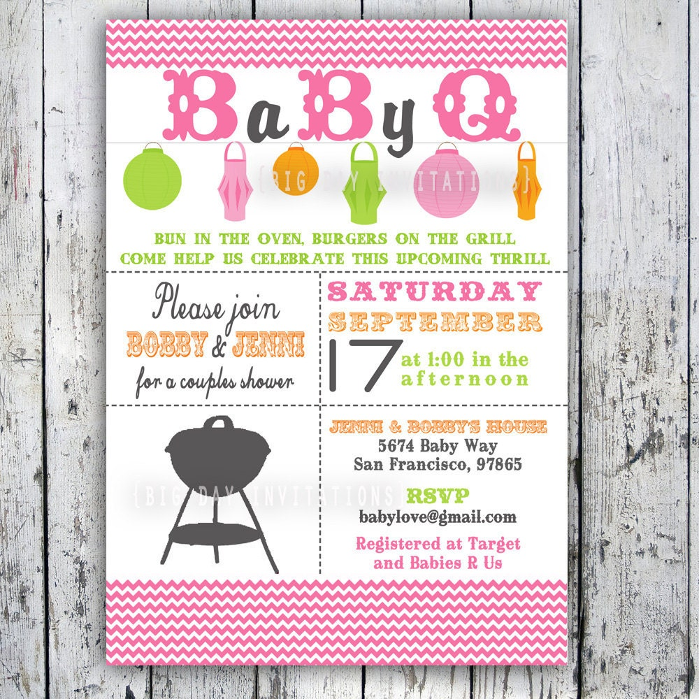 baby shower invitation baby q baby bbq digital printable custom
