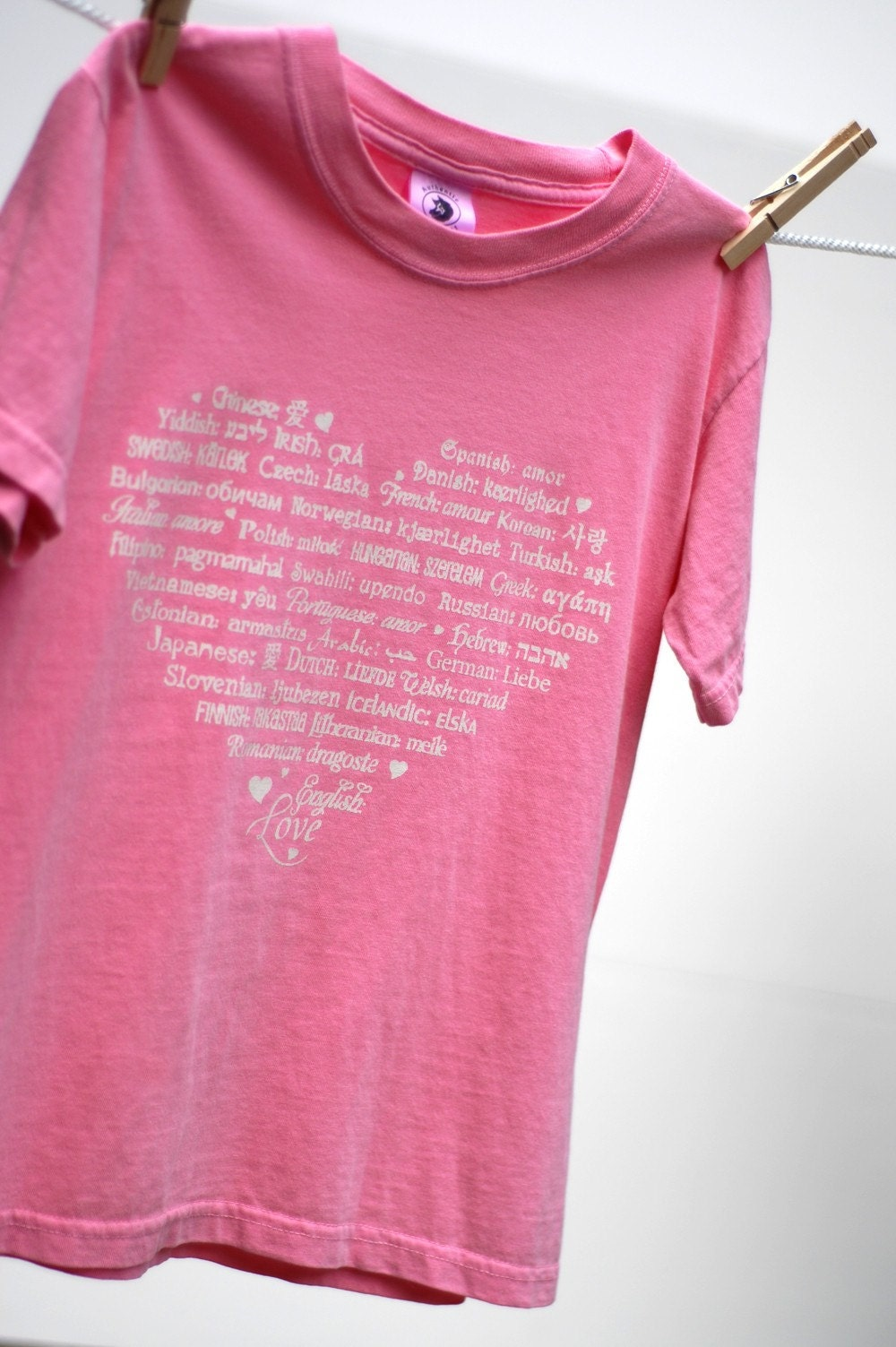 LOVE Languages - ShortSleeve T-Shirt - White on Flamingo - Soft and Cozy YOUTH Sizes
