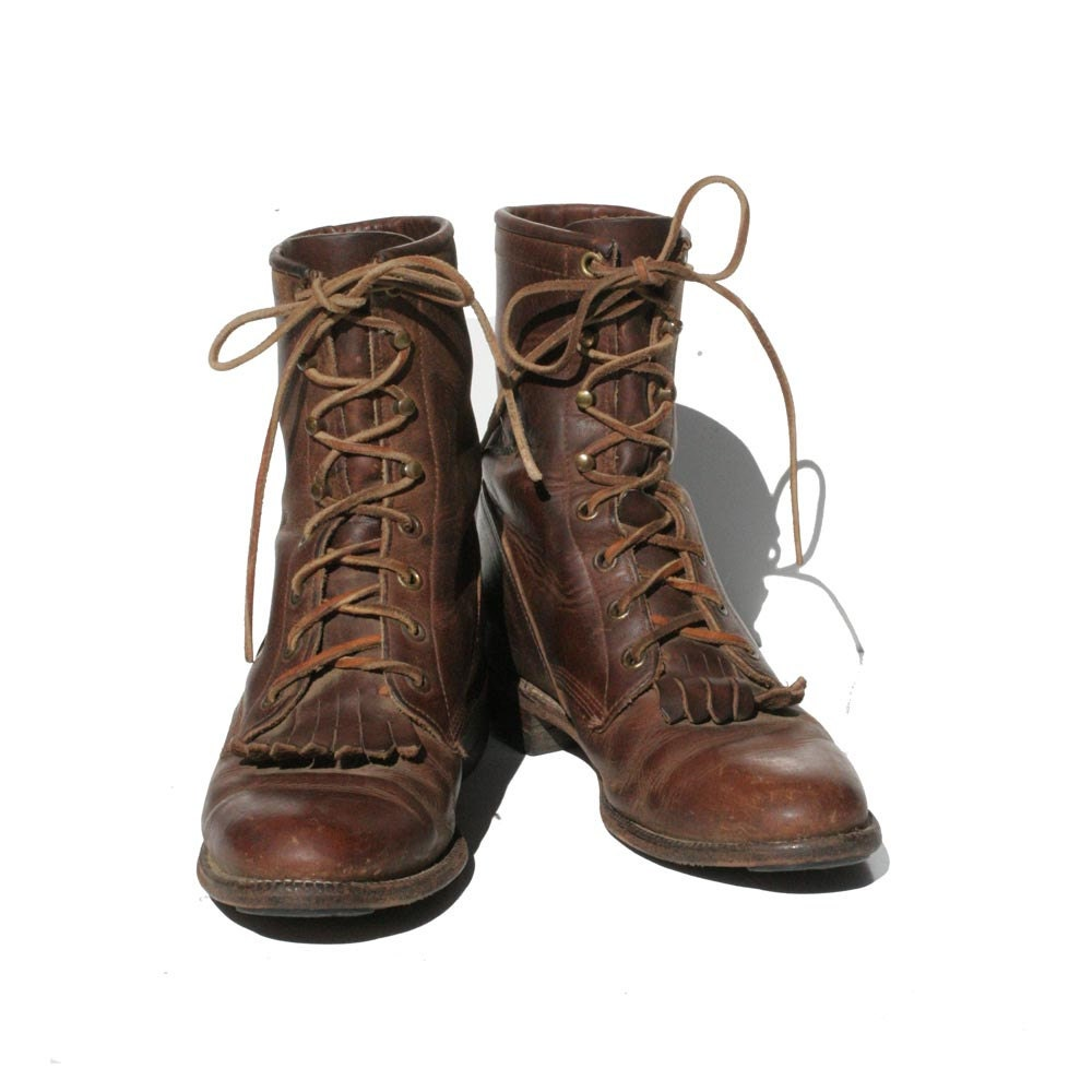 Dark Brown JUSTIN Leather Lace up Ankle Boots size: 6 - TanakaVintage