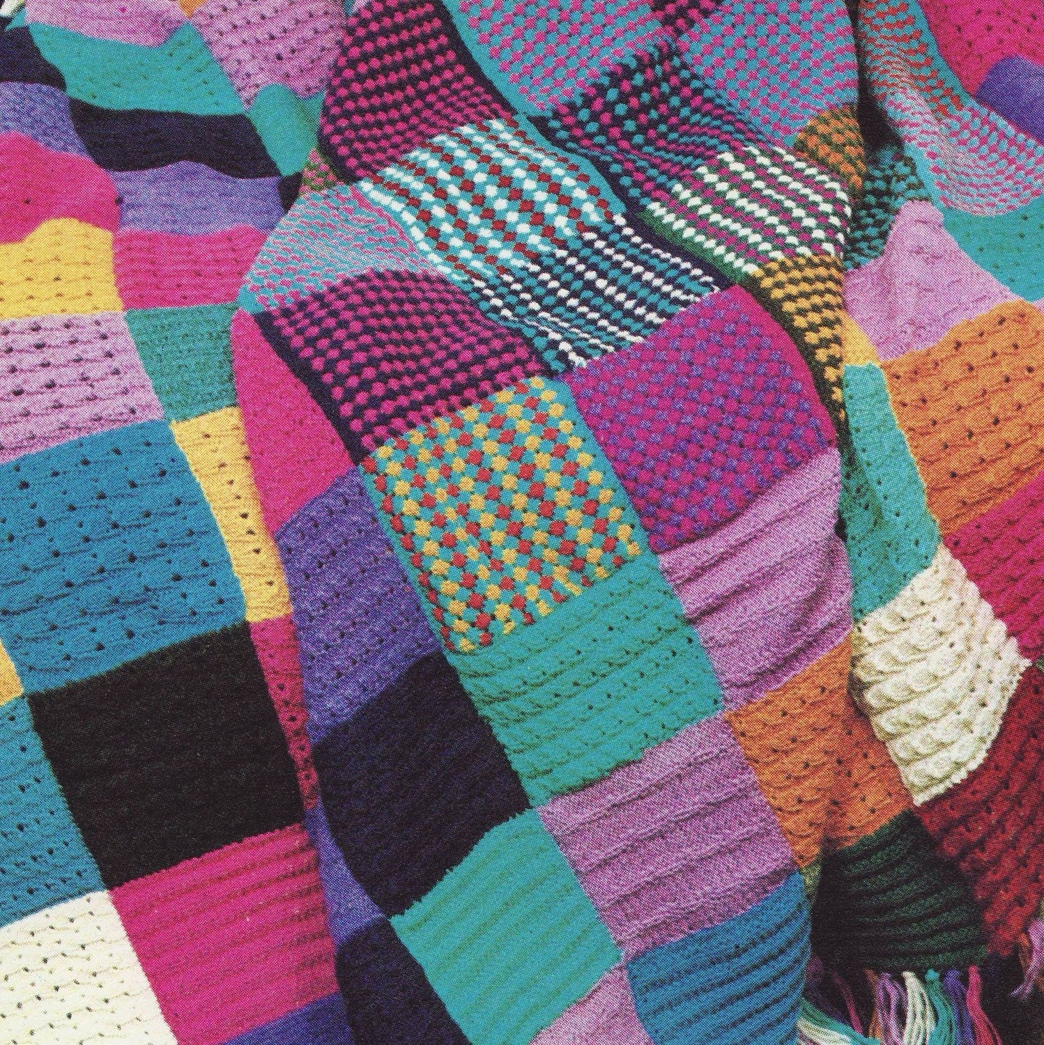 Sale - PDF KNITTING PATTERN for Squares Patchwork Throw Afghan  Vintage