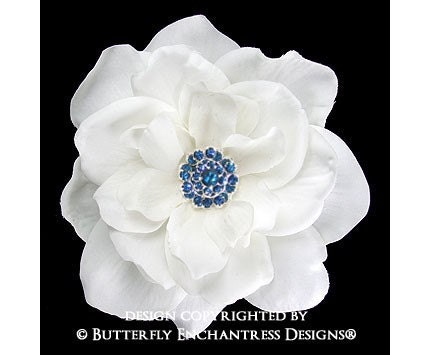 Something Blue Crystal Rhinestone White Sandrinne Gardenia Mini Bridal Hair Flower