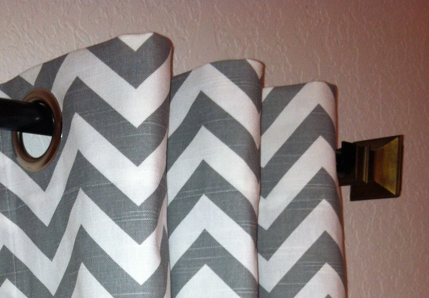 Pair Of Grommet Top Curtains In Ash Grey And White By Sewpanache