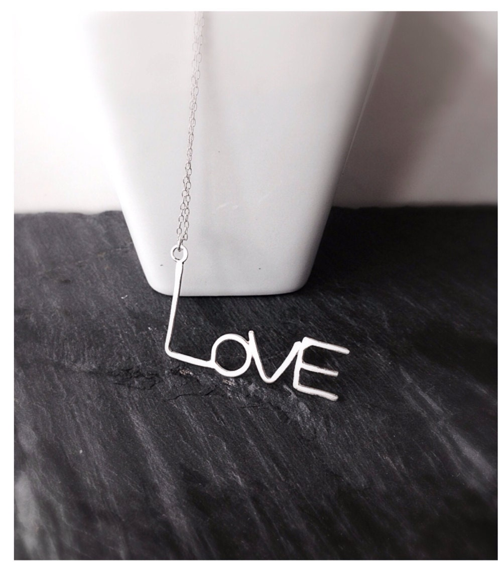 Monogram Love Silver Necklace, Sterling Silver Love Pendant, Personalized Necklace - camilaestrella