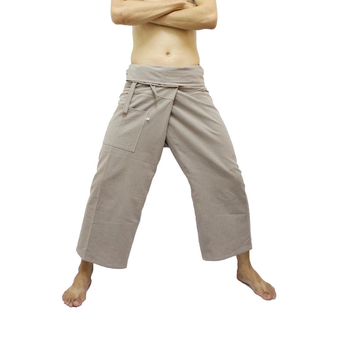 ON SALE Khaki Thai Fisherman Pants, Wide Leg Pants, Yoga