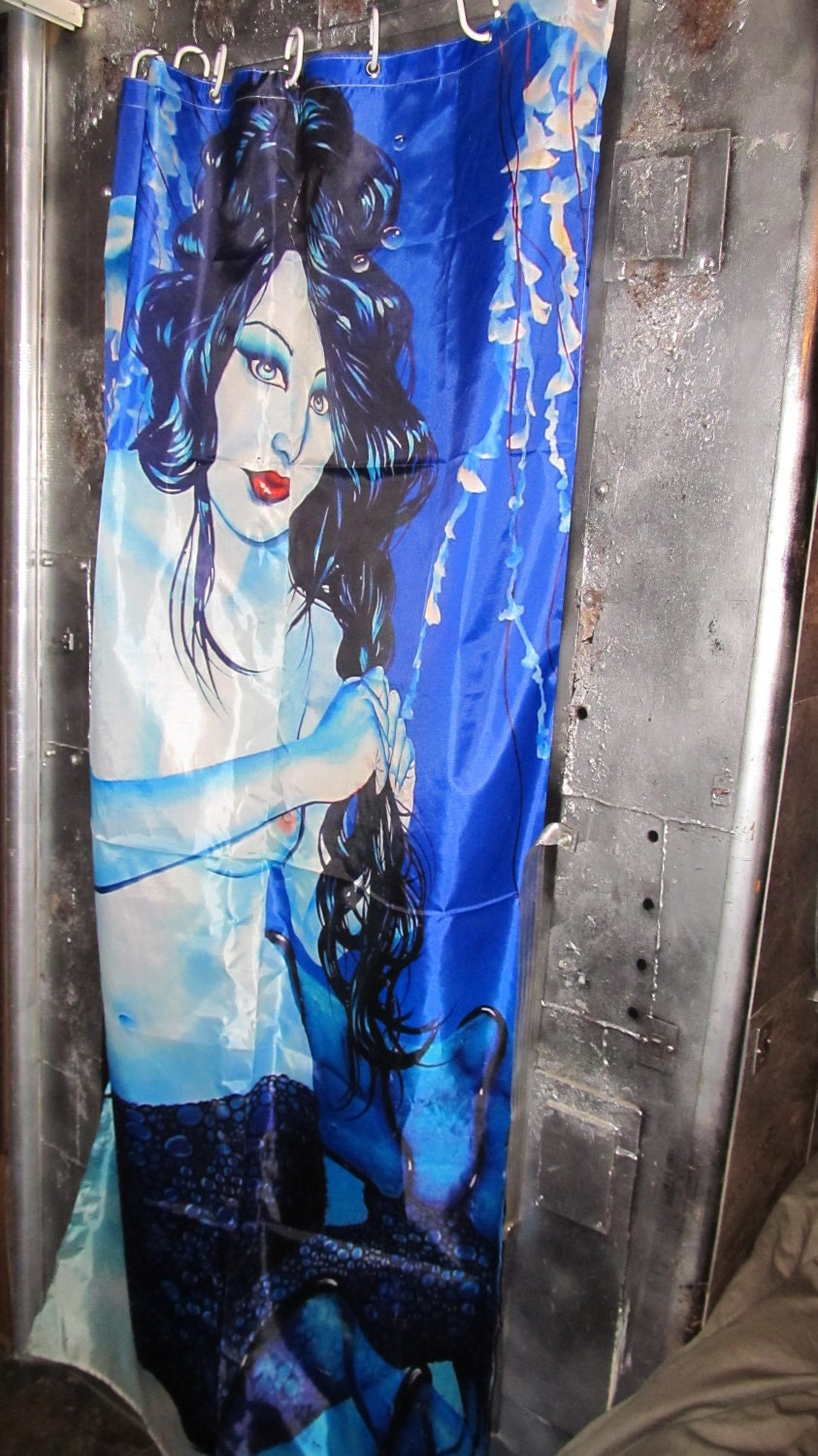Items similar to rw2 stall shower curtain art mermaid blue for Fantasy shower curtains