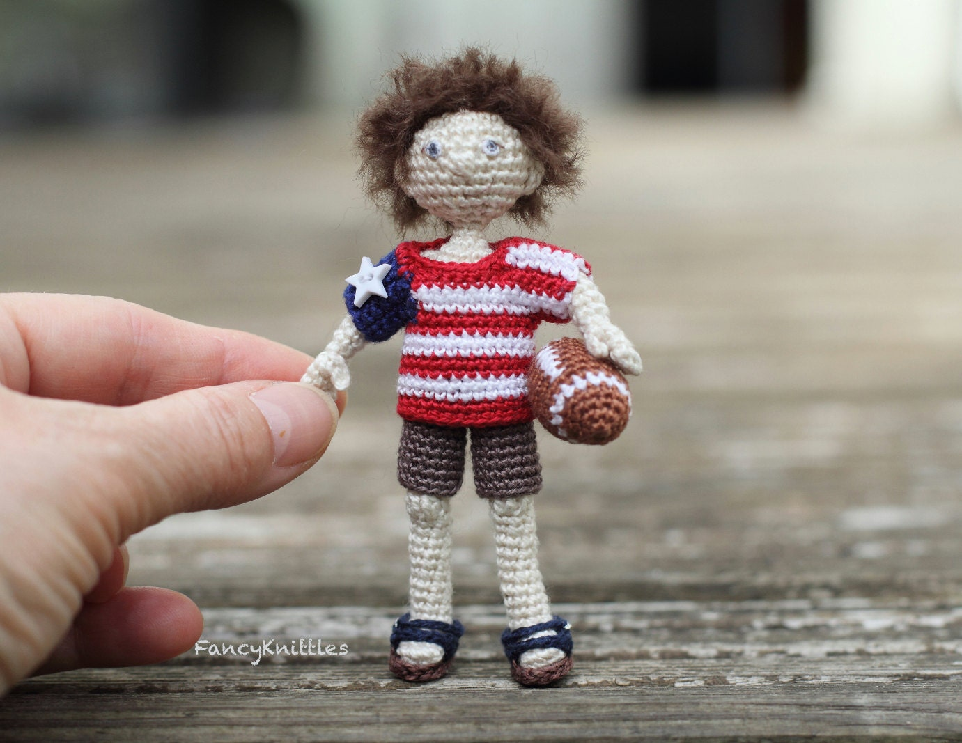 American boy doll USA flag tshirt crochet art doll miniature fancy collectable toy July 4th Independence day gift interior doll amigurumi