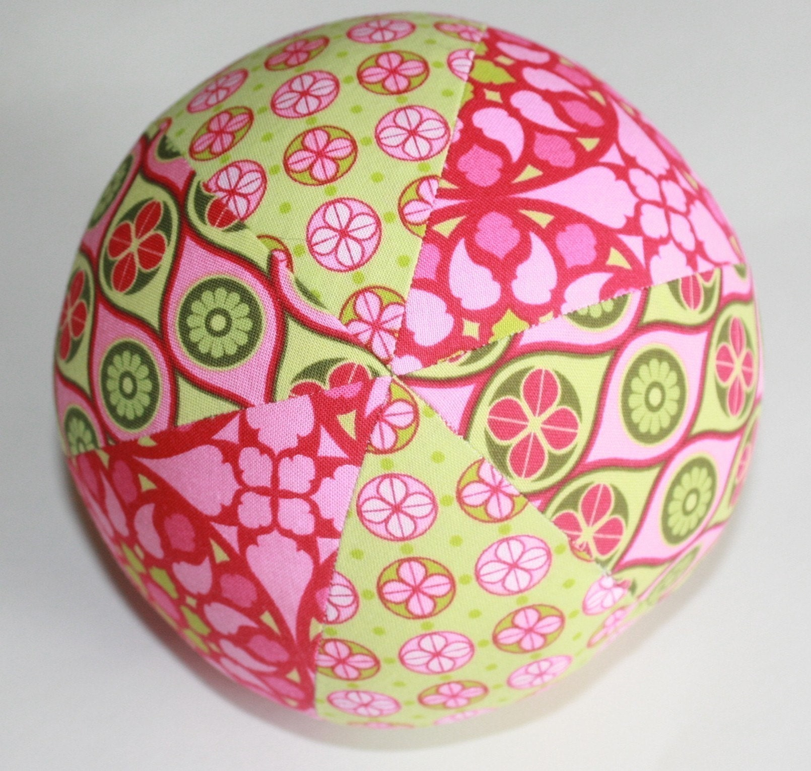 Mezzanine Pink and Lime - Girls Large Cloth Fabric Jingle Ball - ThePolkaDotTotSpot