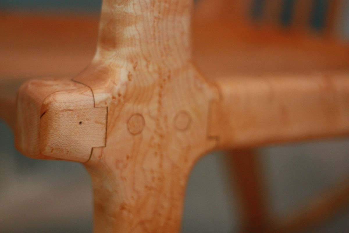 Birdseye Maple Handcrafted Rocking Chair, Modern, Sam Maloof inspired