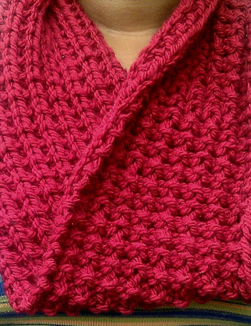 Chunky Red Knit Cowl, Infinity Scarf, Circle Scarf