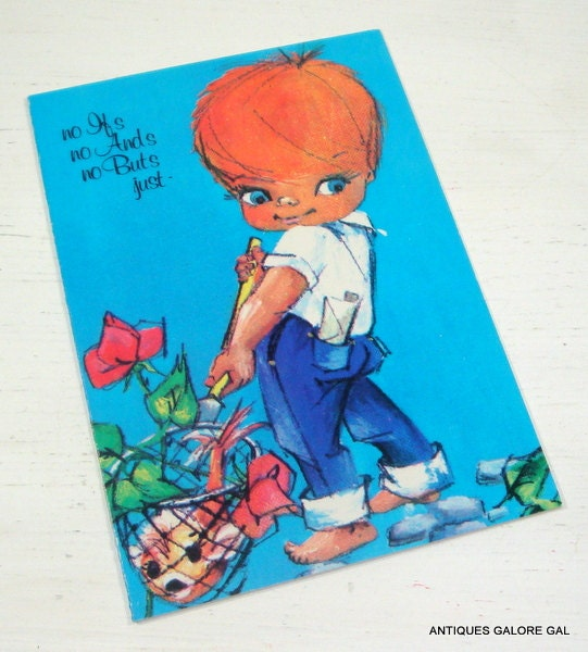 Vintage Get Well Card Retro Big Eyes Bright Colors Unused